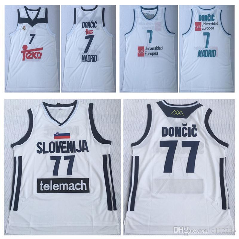 on sale 933ed 1accf NCAA Mens Luka #77 Doncic Jersey Cheap Throwback Basketball Jersey  slovenija Team Luka 7# Doncic Stitched Shirts BASKET Basketball