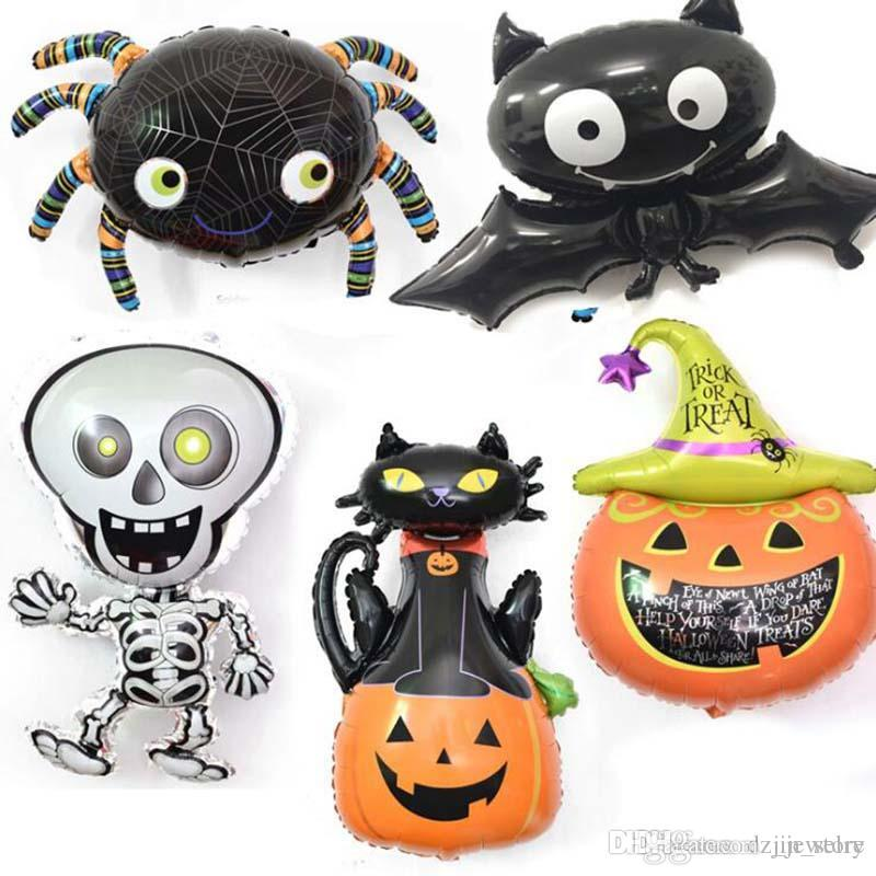 2018 Halloween Balloons Pumpkin head Balloons Halloween Decoration Spider Foil Balloons Inflatable Toys Bat Globes Party Supplies