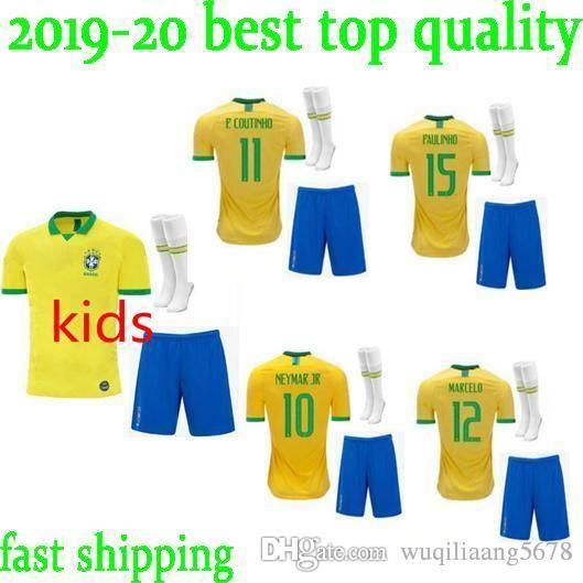 f25d9d5a6 Kids Kit Brazil Soccer Jersey 2019 World Cup Set Brazil KIT 10 NEYMAR JR  Football Shirts 9 G.JESUS 11 P.COUTINHO Soccer Jersey Kit+Socks