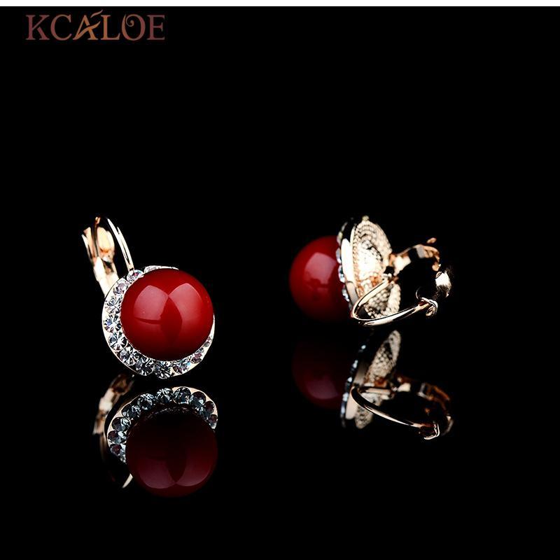 KCALOE Orecchini e set di anelli in oro rosa Accessori la sposa Set di gioielli da sposa in cristallo di corallo rosso artificiale