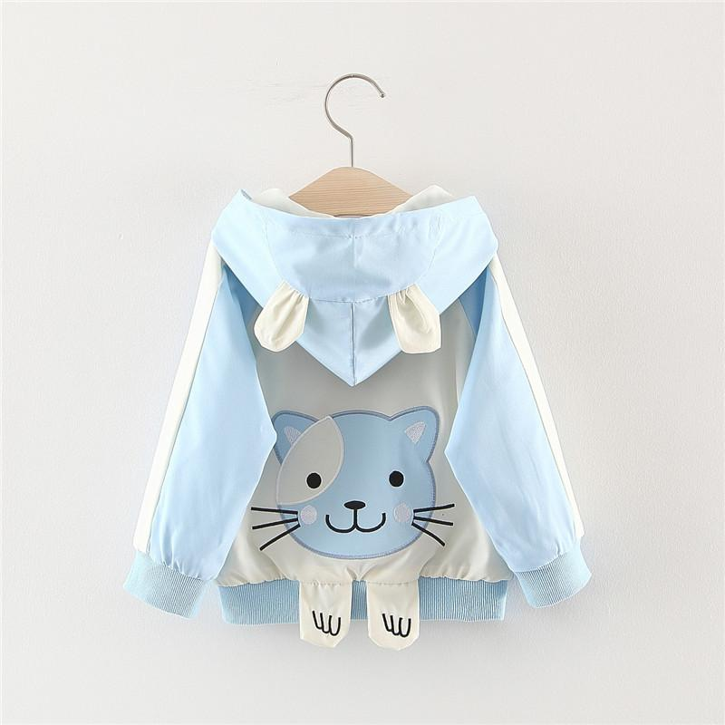 2019 Autumn Baby Girls Cartoon Cat Hooded Long Sleeve Jacket Trench Infant Kids Outerwear Children's Coats casaco