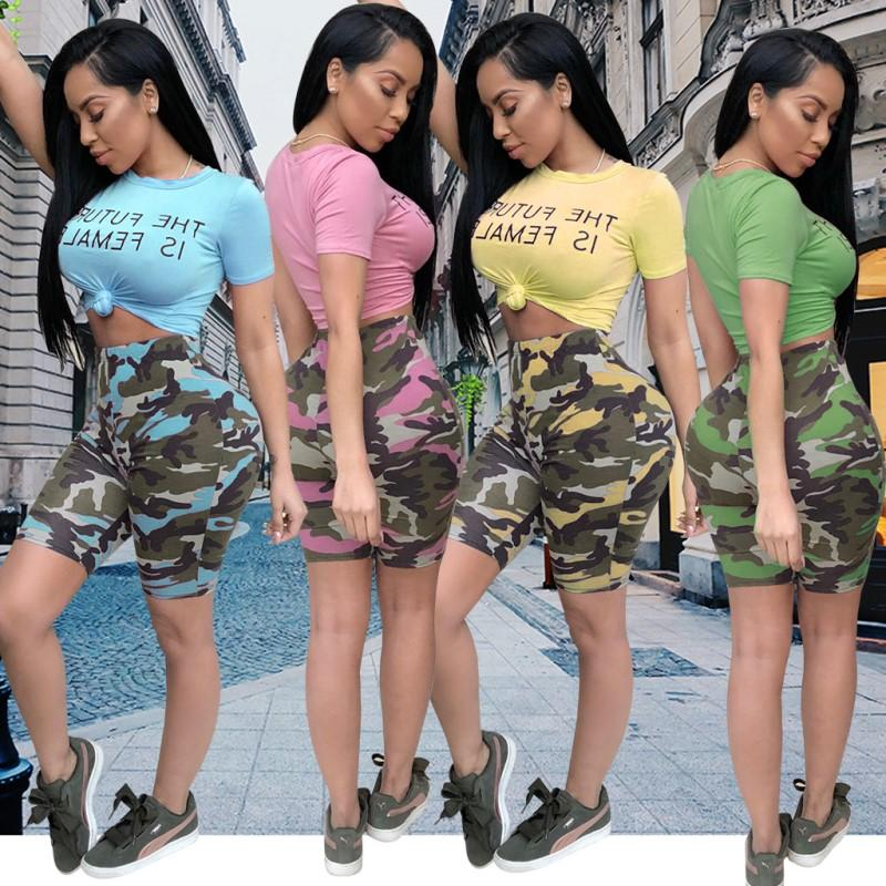 Camouflage Women Crop Top Shorts Sports Suits Print Letter Short Pants Leggings T-shirt Tracksuit Trendy Sexy Club Girl 2 Piece Set Outfits