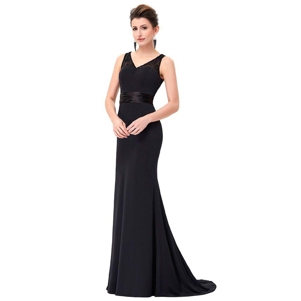 2808b6a11d5 Acheter Vintage Noir Longue Robe De Soirée 2018 Robe De Bal Sexy Col En V Robe  Moulante Étage Longueur Robe De Soirée Formelle Robe De Soirée D18122903 De  ...