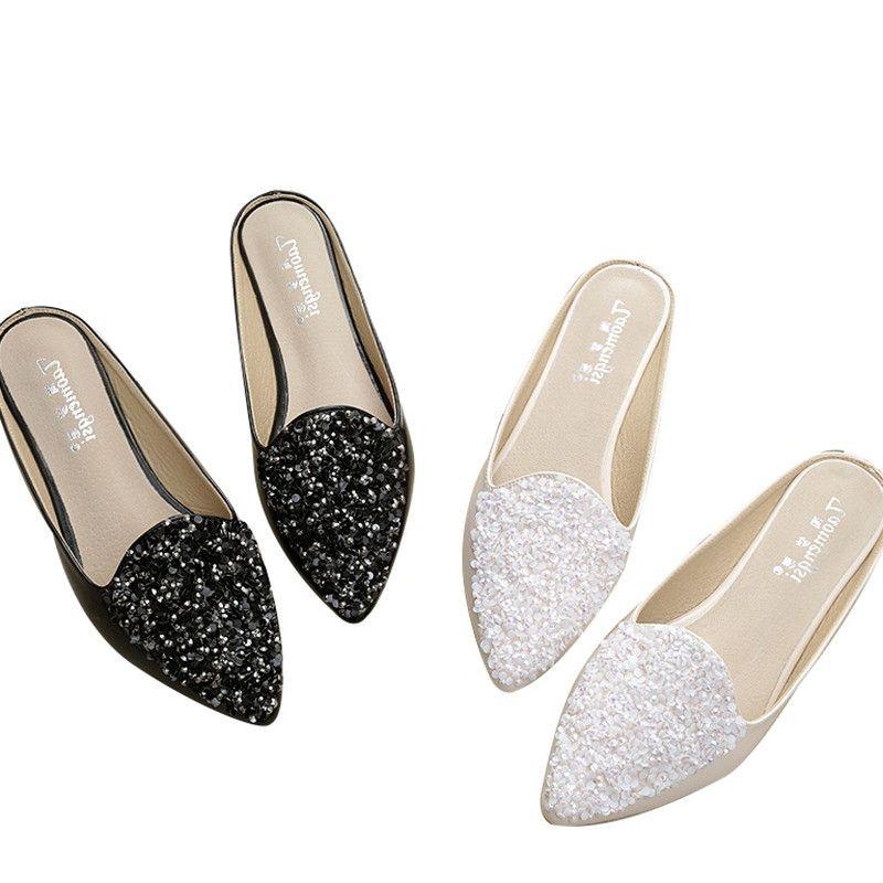 7a3f28e1b Women Slippers Summer Classic Mules Shoes Slides Flat Slippers Women  Rhinestone Slipper Flat Heel Platform Woman Pointed Toe Shoes Sandals  Womens Slippers ...