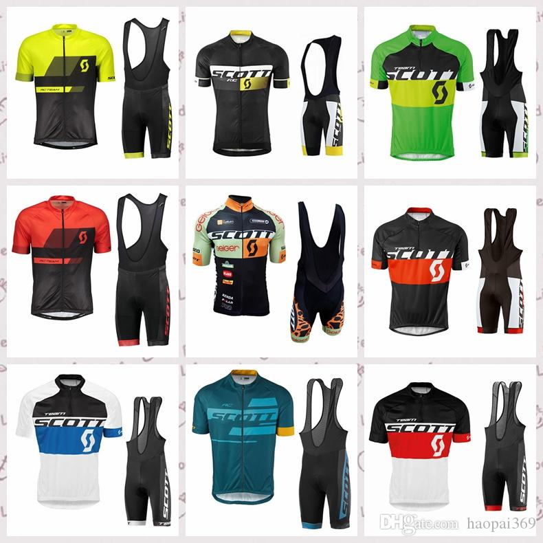SCOTT team Cycling Short Sleeves jersey Comfortable Quick drying MTB bike Wear resistant Outdoor Sports bib shorts sets Q81701