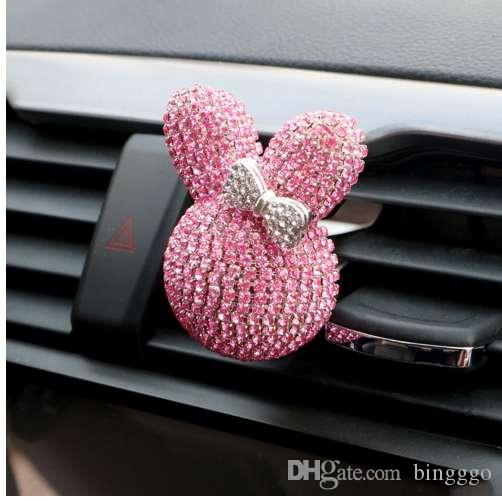 Crystal Rabbit Car Air Freshener Car Perfume Diamond Air Outlet Clip Freshener Auto Decoration Car-styling Auto Accessories