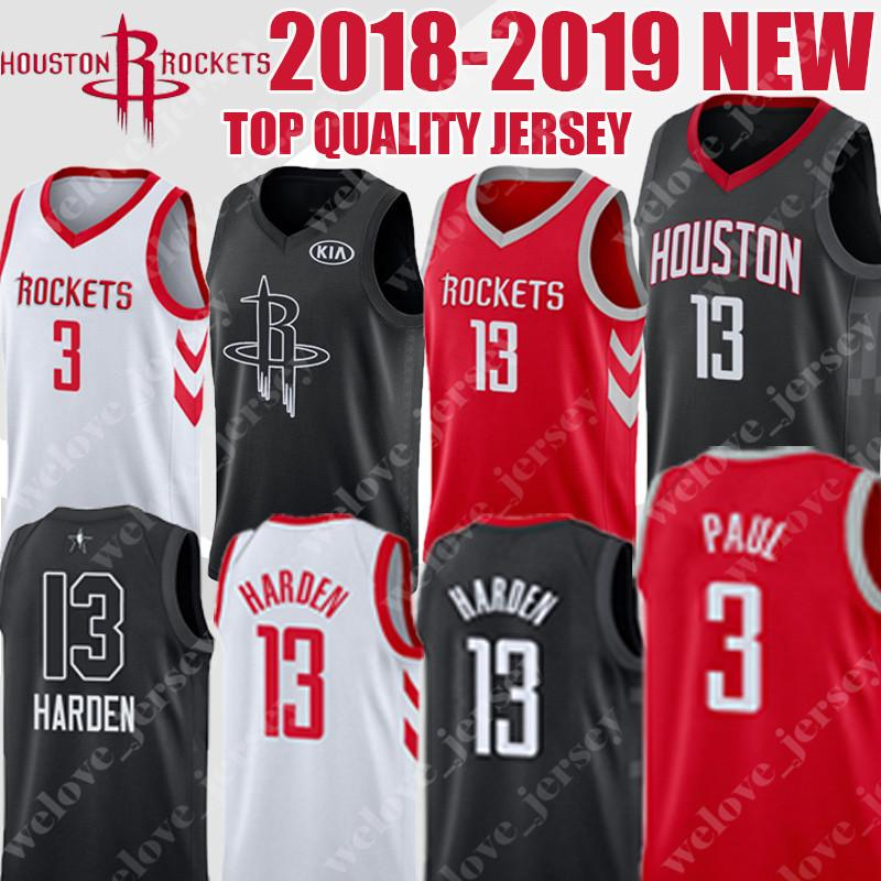 check out 4fd5d b047e Men 13 Harden Houston youth Rockets jerseys 3 Chris Paul 34 Olajuwon  2018-2019 NEW TOP quality men's basketball jersey