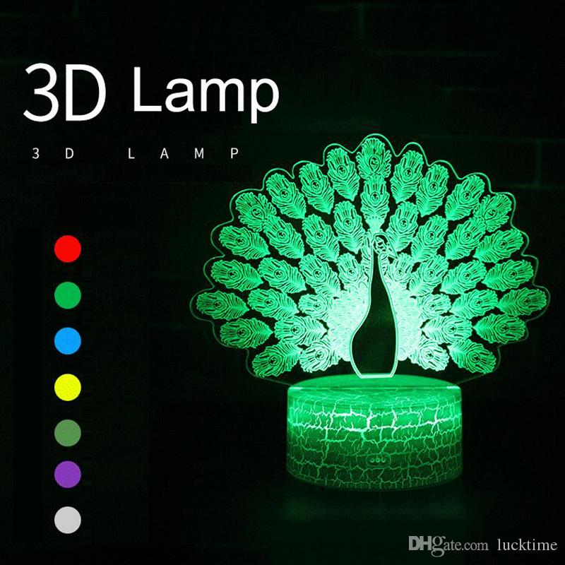 fa9cdaa1e 2019 Kids Bedroom Visual Peacock Light Change Novelty Optical Gifts Led 3D  Illusion Night Lamp Touch Switch Remote Lamp Table From Lucktime