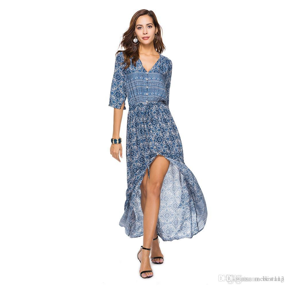 ebbca5c67c467 wholesaleBoho Vintage Floral Print Maxi Long Dresses Women 2018 New Fashion  V Neck Summer Beach Dress Robe Femme Vestidos Mujer Plus Size