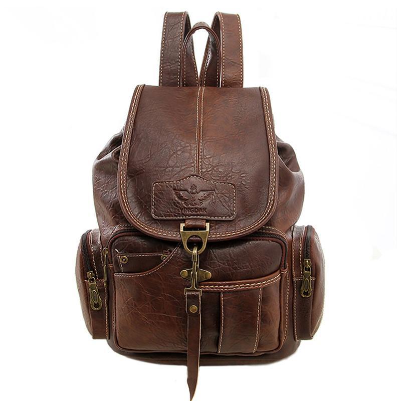 Alandtus Women Backpack Brand Leather School Bags For Teenager Girls ... 8aae5371cddc0