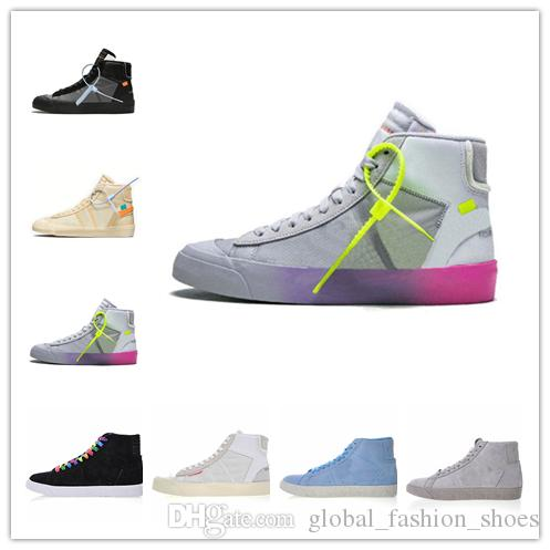 finest selection ebf7d 5d217 Nike Blazer Off White Shoes AA3832 2018 La Más Nueva Marca Blazer Mid Grim  Reaper Zapatos De Baloncesto De Los Hombres Negros All Hallows Eve Designer  ...
