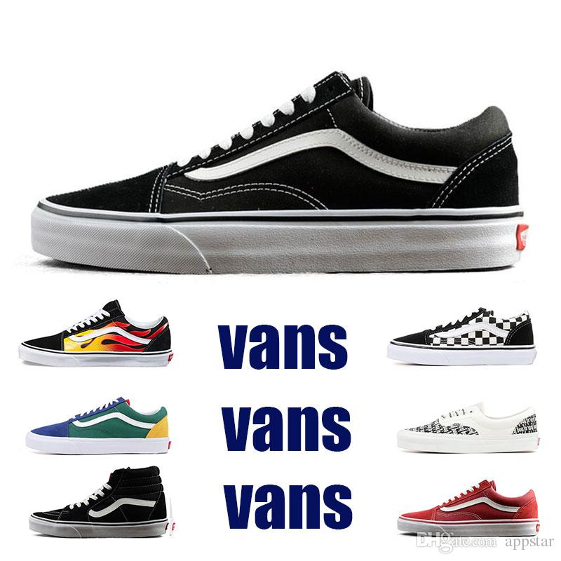 7082a12f438486 2019 2019 Original Vans Old Skool Sk8 Hi Mens Womens Canvas Sneakers Black  White Red YACHT CLUB MARSHMALLOW Fashion Skate Casual Shoes Size 36 44 From  ...