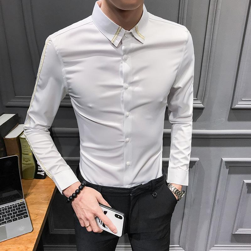 c25023681d 2019 2019 New Men Shirt Fashion Ribbon Design Long Sleeve Shirt Men High  Quality Night Club Mens Shirts Casual Slim Fit Tuxedo Dress From Wayoff, ...