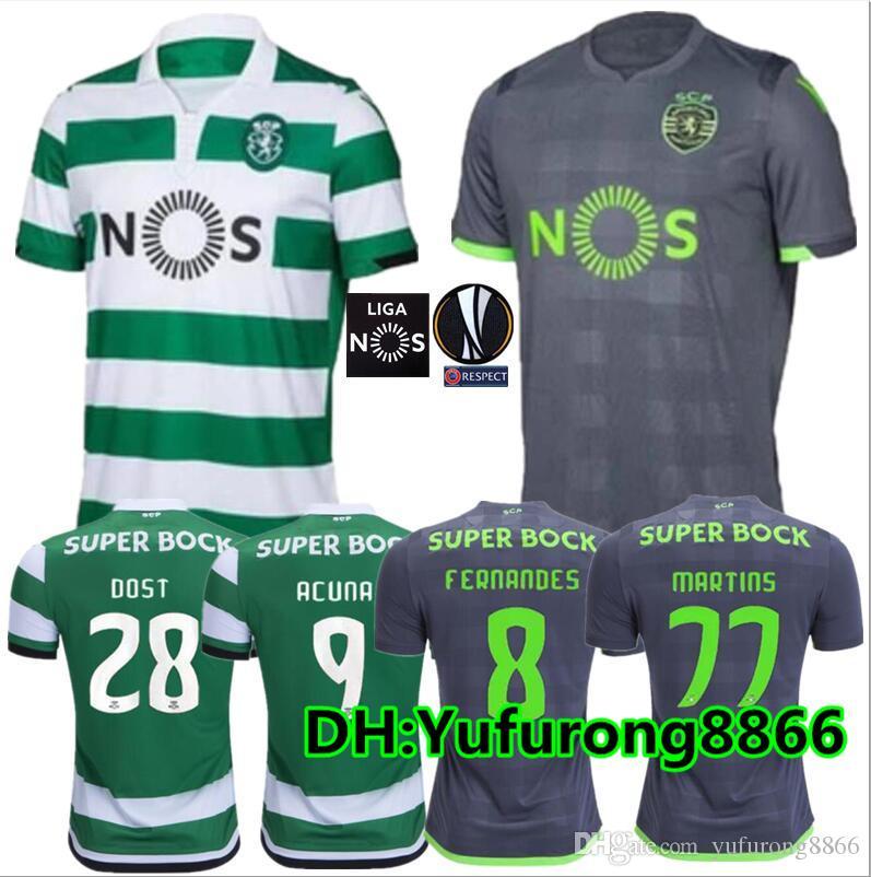 Compre Tamanhos S XL 2018 2019 Camisola De Futebol Do Sporting De Lisboa 18  19 NOVO FERNANDES CARVALHO DOST MARTINS ACUNA Camisas De Futebol De  Yufurong8866 ... 593cc5ef3d67e