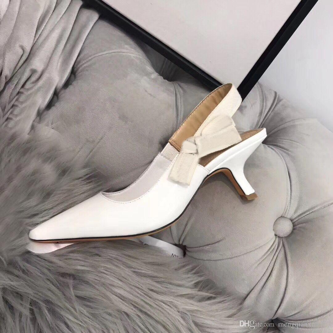 {} Logo originale di moda con tacco scarpe a punta sandali gladiatore di cuoio sexy di lusso del progettista tacco tacco alto scarpe scarpe da donna Lettera 42