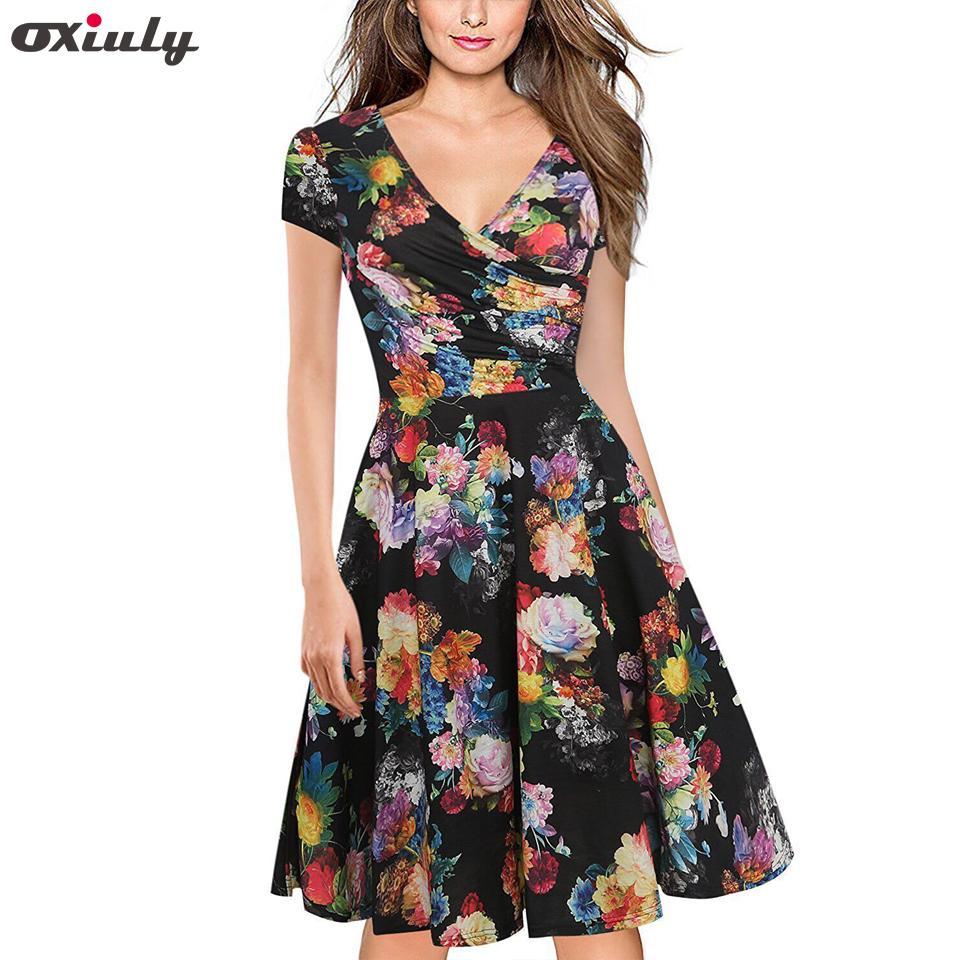 bdcb3bb08b930 Oxiuly Women Bamboo Leaf Floral Print Ruffle V Neck Dress Short Sleeve Knee  Length Dresses Ladies Casual A-line Dress Vestidos Y190427