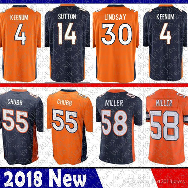 official photos 3b029 6985e 58 Von Miller Denver Jersey Broncos Phillip Lindsay 30 Terrell Davis 4 Case  Keenum 13 Trevor Siemian 7 John Elway 55 Bradley Chubb 14 Sutton