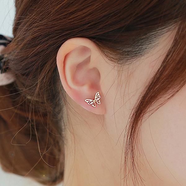 DIEERLAN Kore Tatlı Düğün Takı Setleri Kadınlar için 925 Ayar Gümüş Kelebek Küpe Kolye Bildirimi Parti Kızlar Hediye