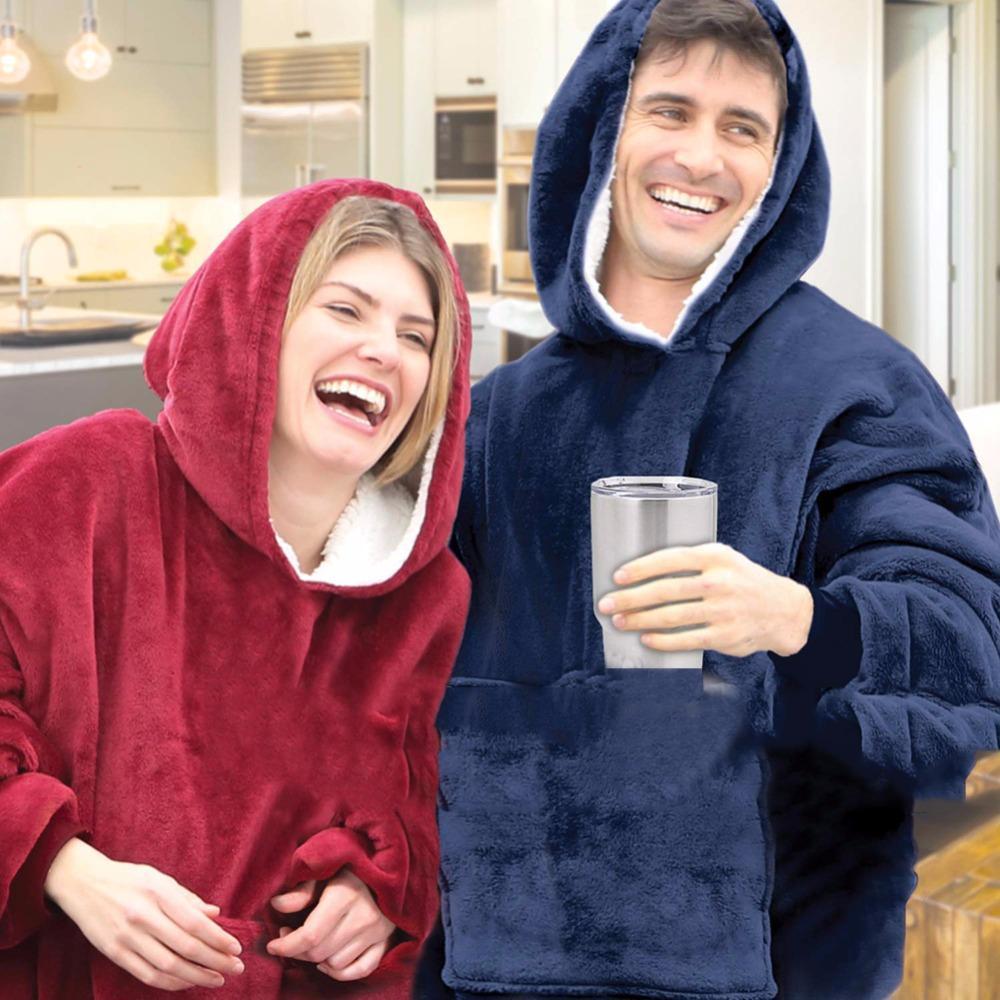 532bade0df Winter Hoodie Ultra Plush Blanket Hoodie Huggle Soft Wearable Blanket  Warmly Outdoor Accessories Indoor Dress Fleece Throws On Sale Velour Throws  From Jasm