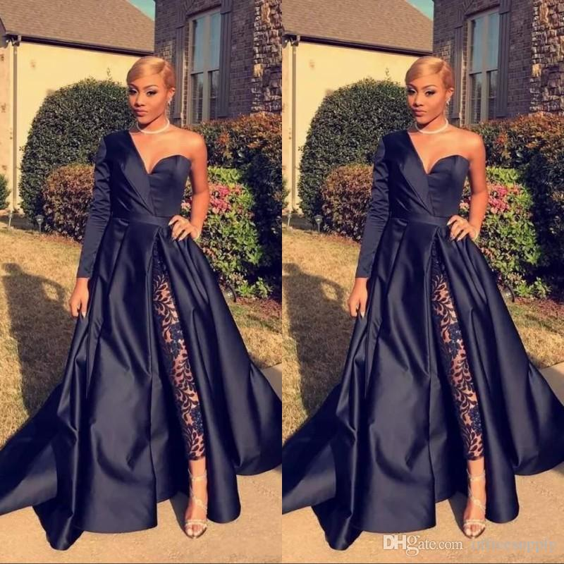 2019 One Shoulder Prom Evening Dresses Royal Blue Satin Sweep Train Custom  Made Plus Size Prom Party Gown Formal Occasion Wear