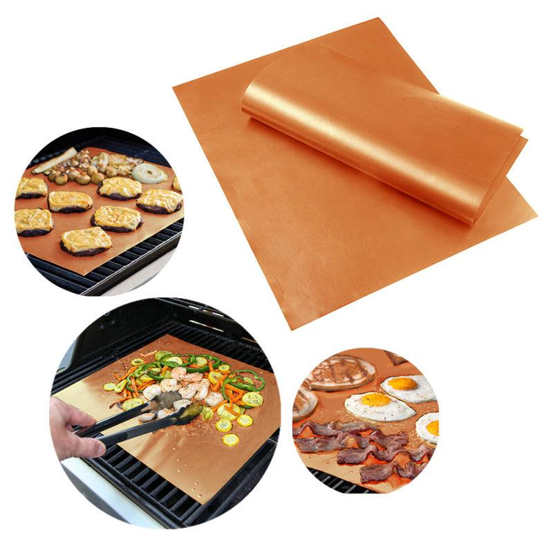 Reusable BBQ Copper Grill Mat Baking Easy Clean Grilling Fried Sheet Portable Outdoor Picnic Cooking Barbecue Kitchen Tool TTA757