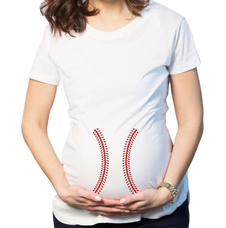 49ac9f1df Compre Camiseta De Maternidad De Béisbol Embarazada Verano Camisa Divertida Embarazo  Camisetas De Béisbol Casual O Cuello De Manga Corta Mujer Ropa Tops ...