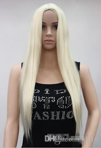 Fashion Light Blonde Long Straight Middle Part Women Ladies wig HTLC007 heat resistant fibers Hair wigs Free Shipping