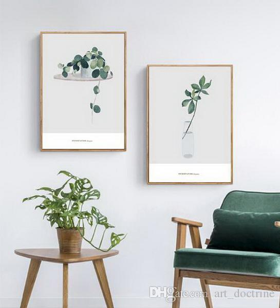 Green Plant Sofa Background Wall Painting Modern Simple Mural Painting  Bedroom Scandinavian Style Painting Small and Fresh