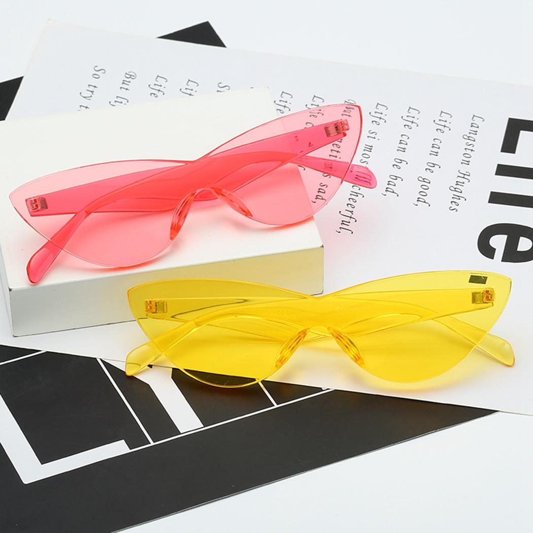 f892651d56d63 Women Fashion Brand Clear Sunglass UV400 Shades Eyewear Rimless Cat Eye  Sunglasses Vintage Candy Color One Piece Sunglasses Glasses Online  Polarized ...