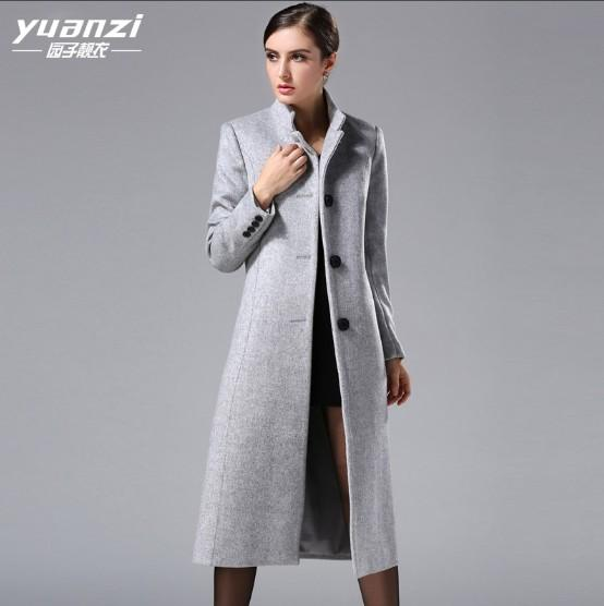 c90c24aea Women's autumn and winter grey wool coats simple pure color stand collar  single-breasted long woolen jacket