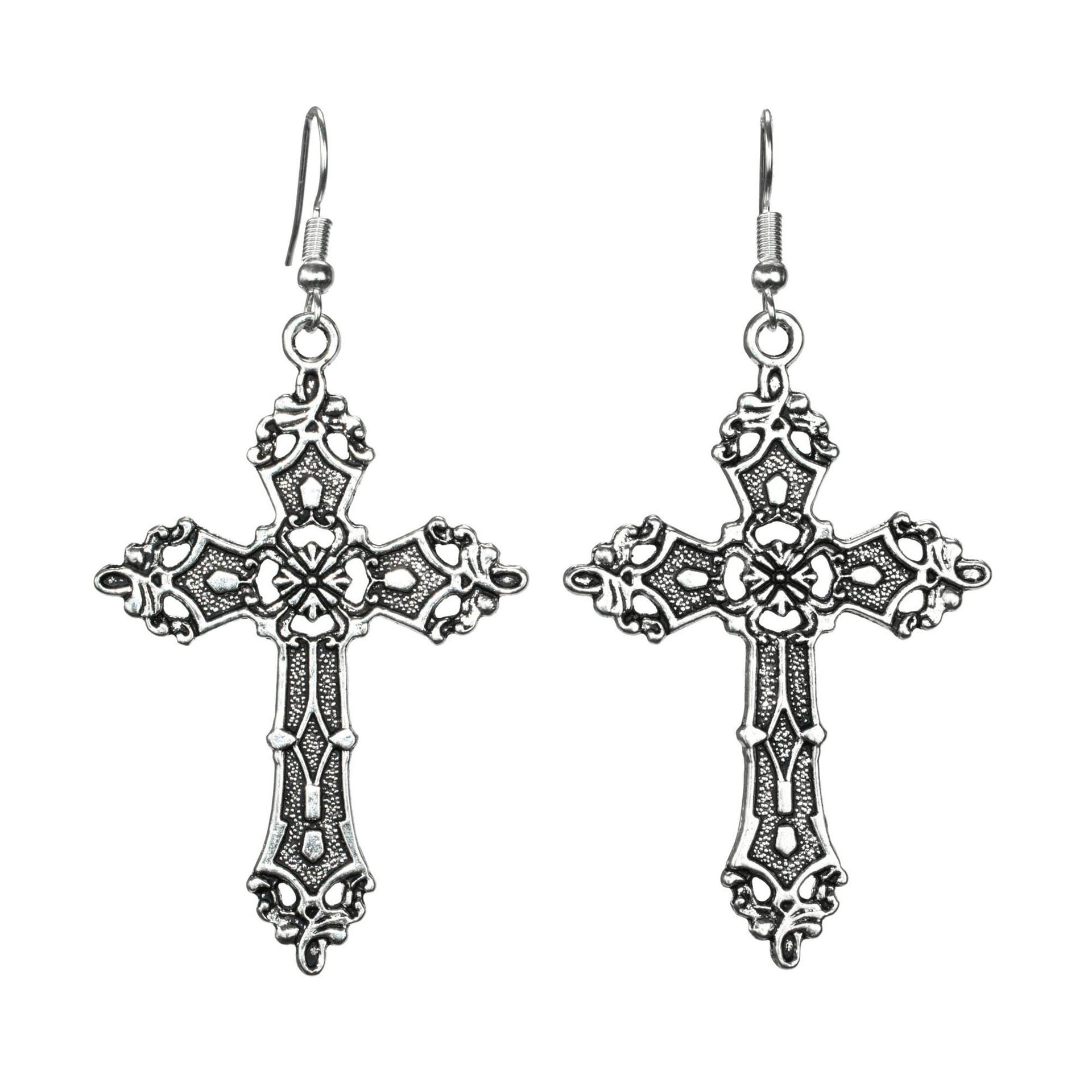 New Style Ancient Silver Christ Cross Pendant Charm Earring Personality Creative Women Jewelry Earrings Ear Hook Accessories Holiday Gift