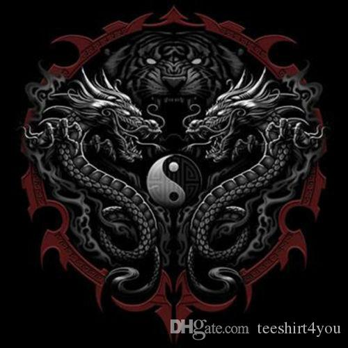 Asian Tattoo T Shirt Tiger Dragons Ying Yang Tee T Shirt Men S Brand