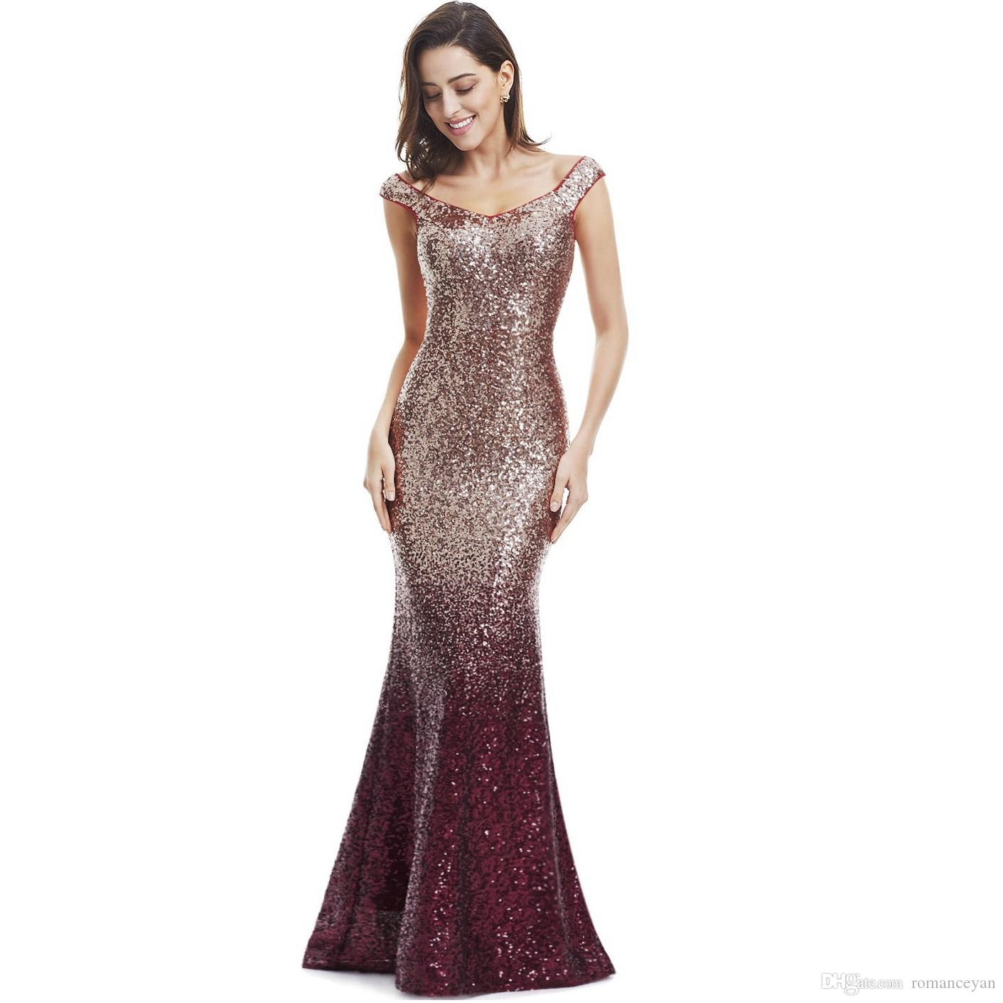 caa60000ac559 Acquista ANTI Womens Paillettes Madre Di Abiti Da Sposa Lungo Scollo A V  Elegante Mermaid Party Dress Abiti Da Sera Partito Formale Gli Ospiti 2019  A  81.4 ...