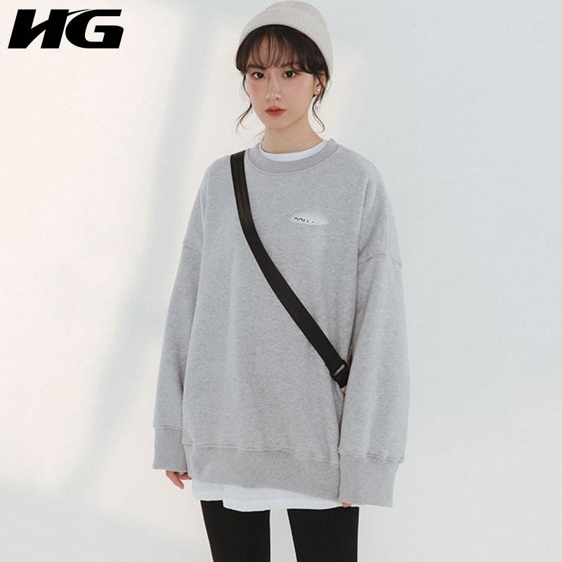 2019 HG False Two Pieces Korea Fashion Women 2019 Spring Summer O Neck Full  Sleeve Pullover Solid Color Letter Sweatshirt LYH2623 From Redbud03,