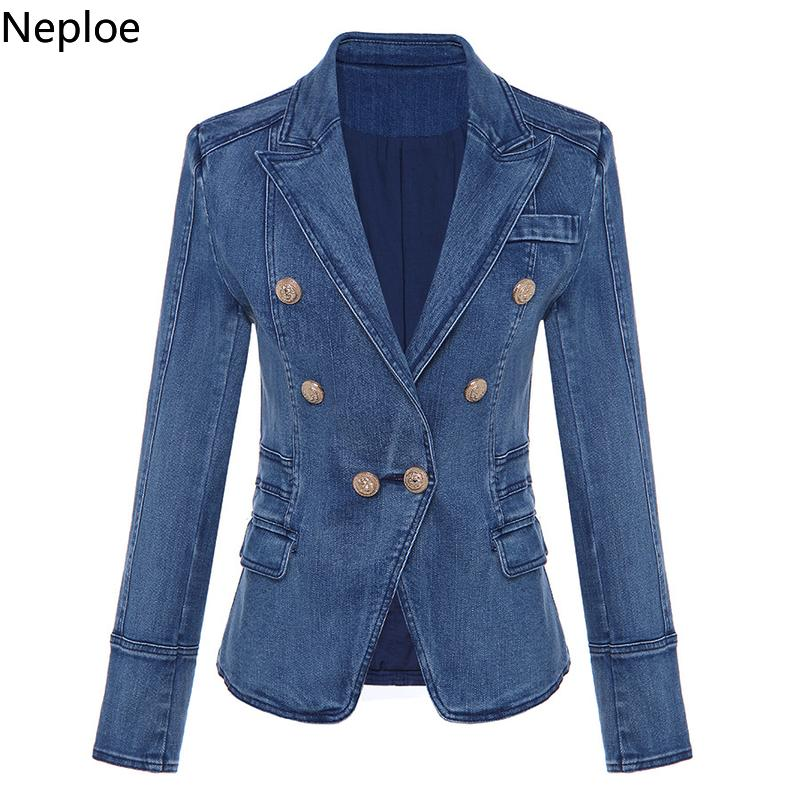Nepole Denim Cool Girl Buttons Mujeres Abrigo Modis Doble Breasted bolsillos Top 2019 Primavera Otoño Casual Slim Chaqueta Blazer 42715