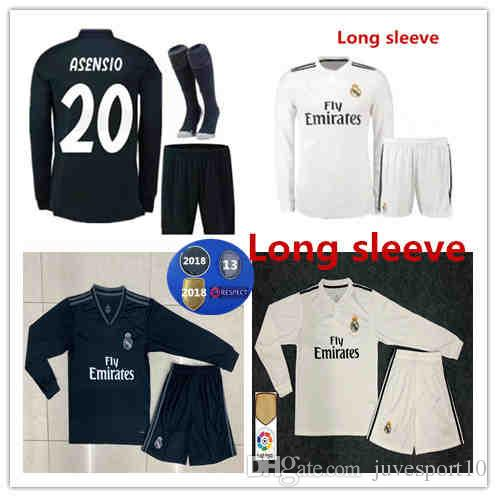 527c2bf1e 2019 Long Sleeve Real Madrid Home Away Soccer Jerseys 18 19 Adult Kit  +Socks Benzema MODRIC ISCO BALE RAMOS ASENSIO 2019 Football Shirt From  Juvesport10