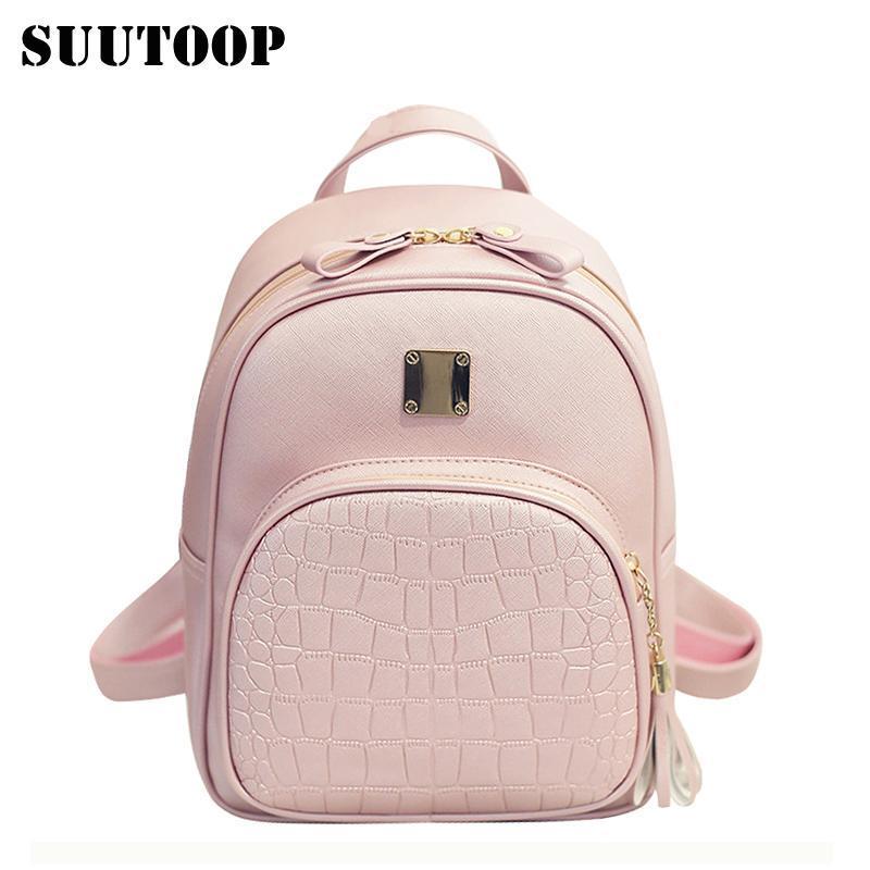 2bb2ec15c2fe Women backpacks fashion PU leather shoulder bag crocodile pattern small  backpack embossed School Bags for girl