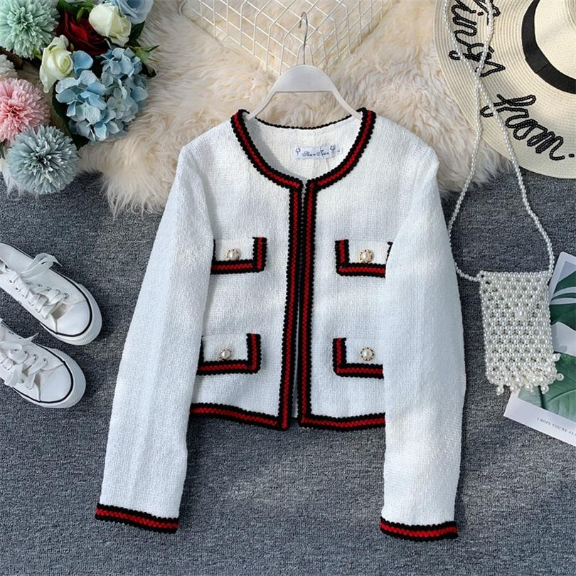 TYHRU Women's solid color round neck contrast color stitching pocket autumn and winter coat wild tassel suit cardigan