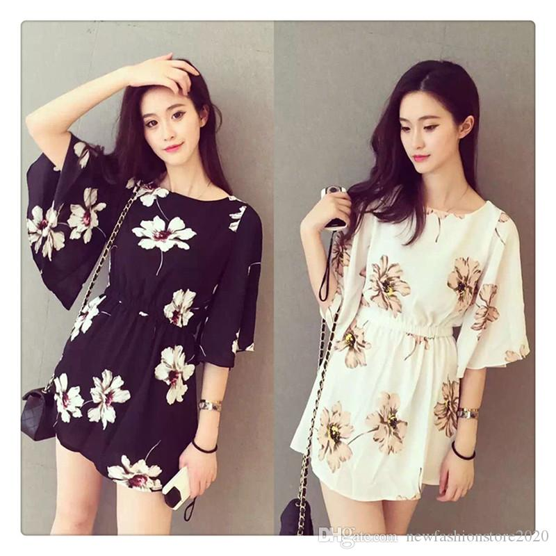 Women Dress Mandarin Sleeve Chiffon Flower Printed Dress Fashionable Elastic Waist Casual Dress Sweet Style Daily Wear