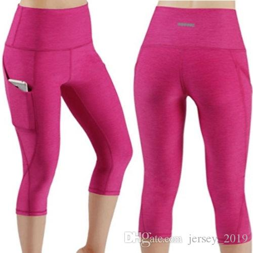 ecefd7e598a3 2019 2018 New Pink Yoga Cropped Sexy Womens High Waist Yoga Fitness  Leggings Running Stretch Sports Gym Pocket Trousers  232642 From  Jersey 2019