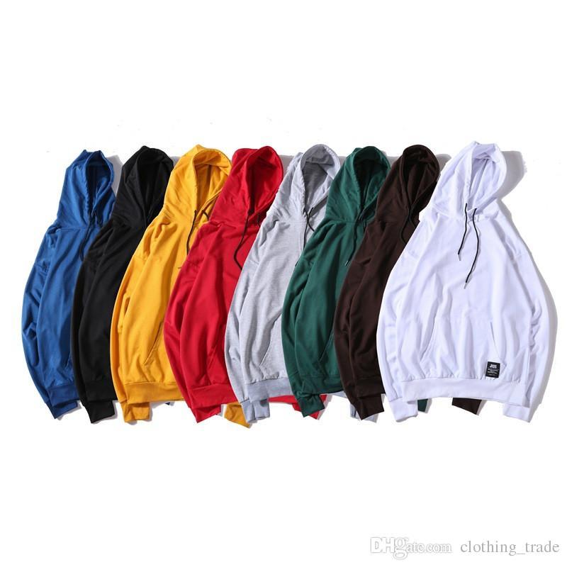 Cool Harajuku hooded tops loose hoodie men women solid color hoodie long sleeve couple sweater wholesale