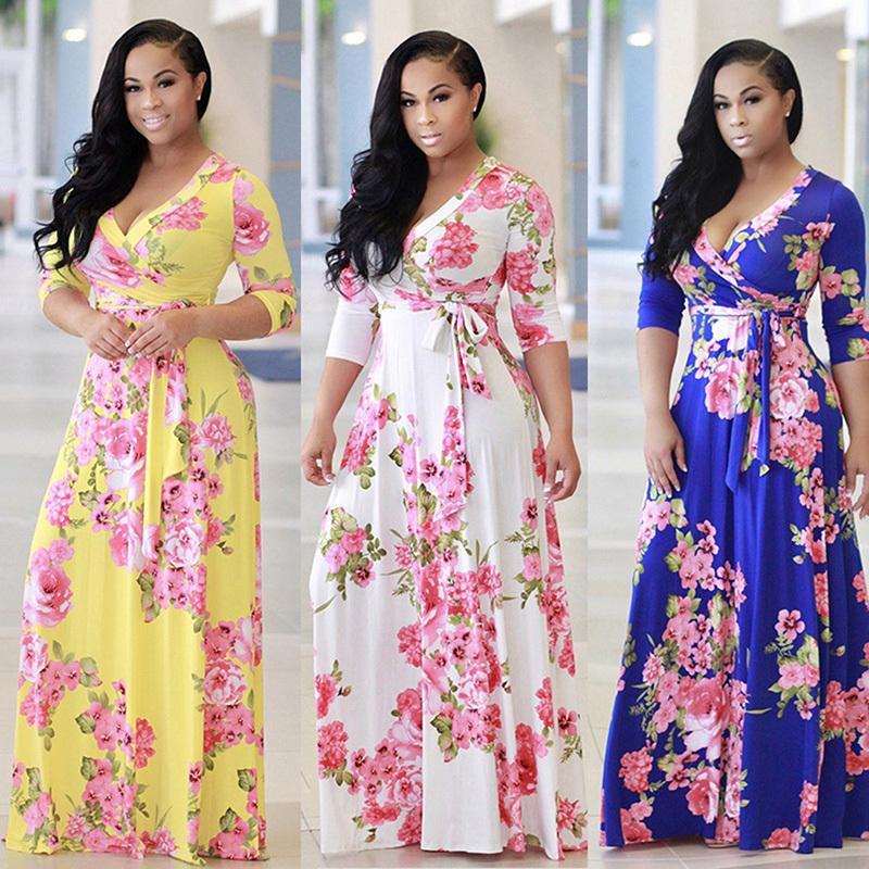d52597d833788 2018 Boho Sexy V Neck Women Robe Dress Half Sleeve Floral Print Long Dress  Female Loose Beach Maxi Dress Vestidos Large Size 5xl Y190425
