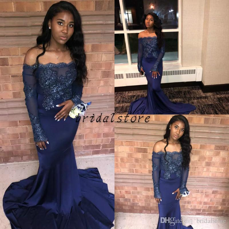 Black Girl Elegant Prom Dresses Sexy Off Shoulders Mermaid Long Sleeve Lace Evening Gowns For graduation Sweep Train South African Cheap