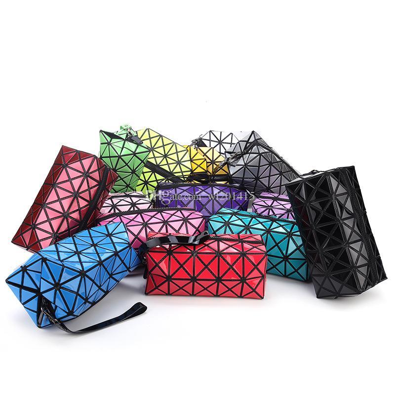a778ae184155 Fashion Geometric Zipper Cosmetic Bag Large Storage Package Women Laser  Flash Diamond Leather Makeup Bag 11colors