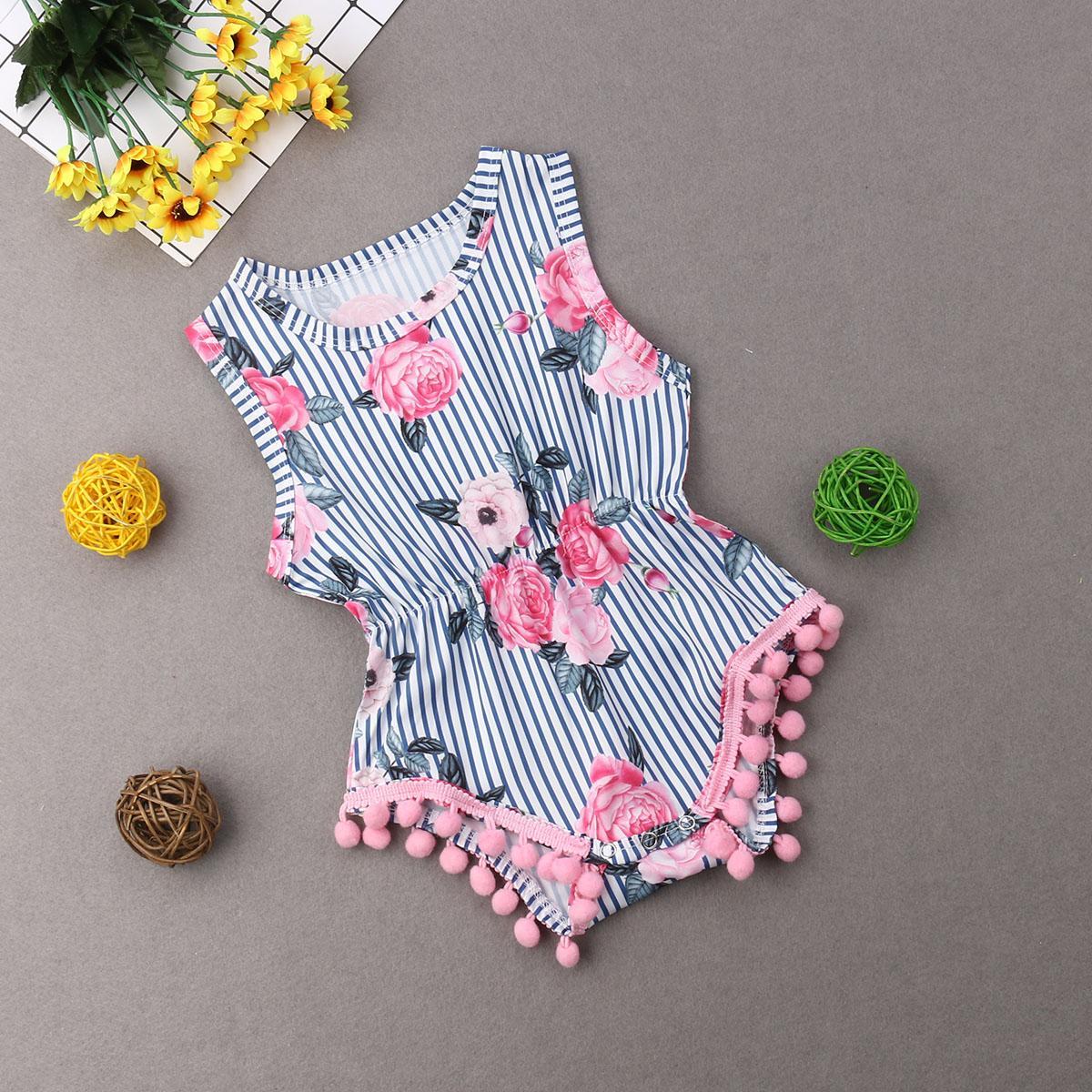 Yaz Yenidoğan Bebek Kız bebekler Çiçek Bodysuits Tulum Moda Püskül Kolsuz Bebek Bebek Sunsuit Giyim Beachwear
