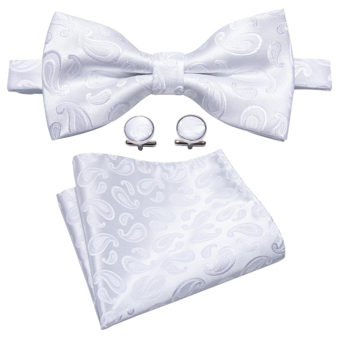 0ccf45447871 Wang Men's Bowtie Paisley 100% Silk Butterfly Jacquard Woven White Bow Tie  For Men Pocket Square Handkerchief Set LH-803