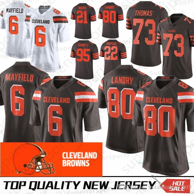 buy online a3bed db42d Cleveland 6 Baker Mayfield Browns Jersey 21 Denzel Ward Jersey 22 Jabrill  Peppers 80 Jarvis Landry 95 Myles Garrett 73 Joe Thomas