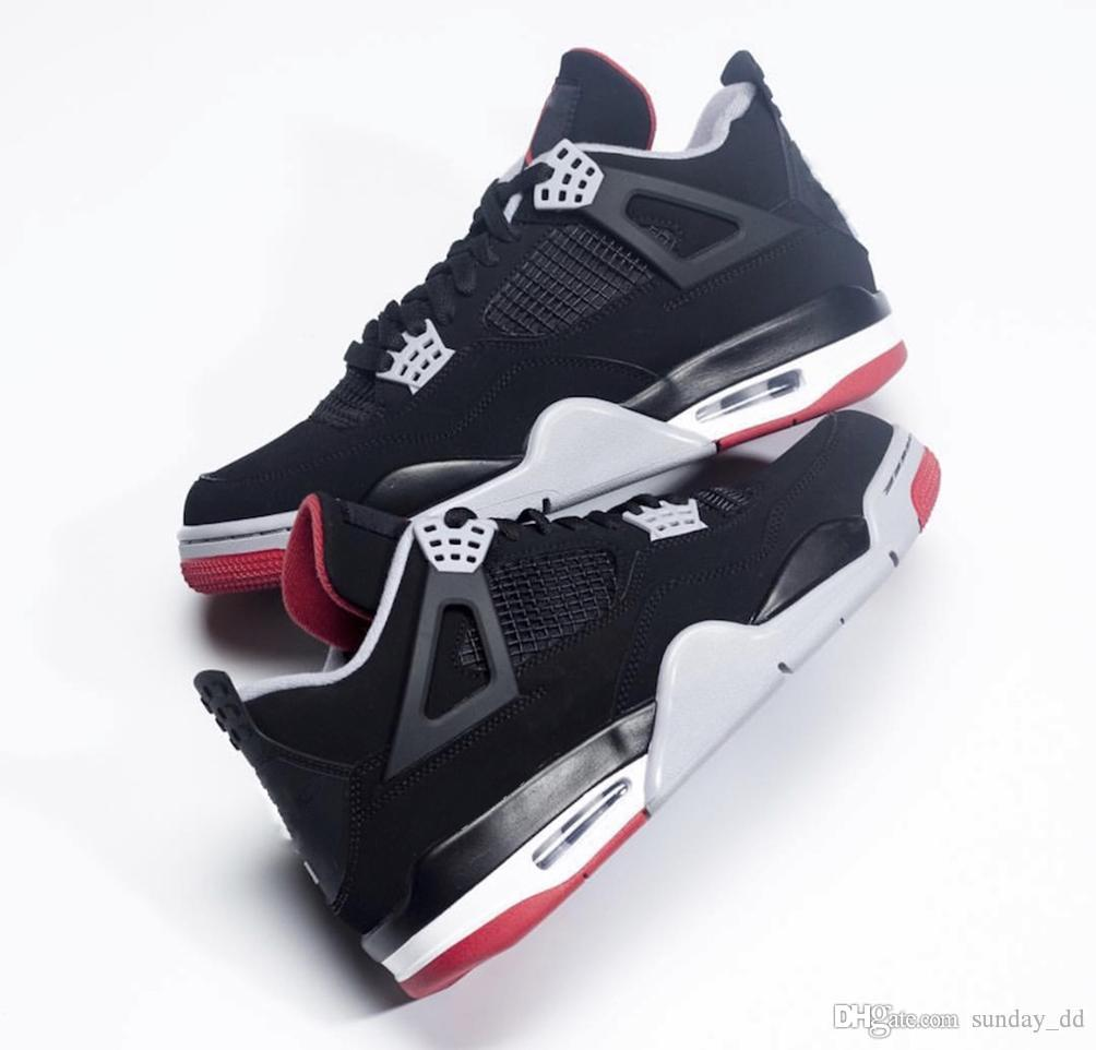 buy popular 18ba4 28c4e 2019 2019 Hot 4 Bred Basketball Shoes Black Cement Classic Authentic Men IV  Sports Shoes Grey Summit White Fire Red Sneakers 308497 060 With Box From  ...