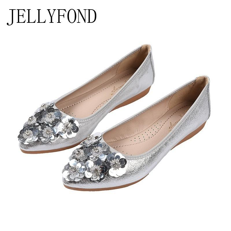 JELLYFOND Floral Sequins Ballet Flats Women Casual Shoes Woman 2019 Spring Korean  Style Sweet Ladies Slip On Loafers Plus Size Women Shoes Mens Sandals From  ... 0fabbf31e43a