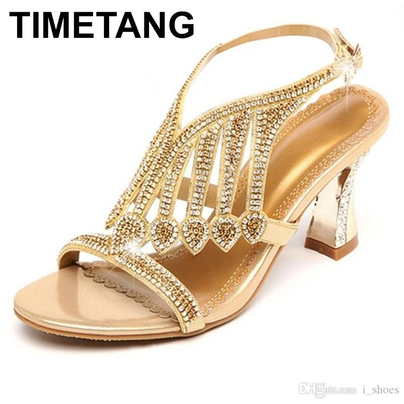 15efe3a8c9eb TIMETANG Summer Rhinestone Thick Heels Women Sandals Shoes Sexy Open ...